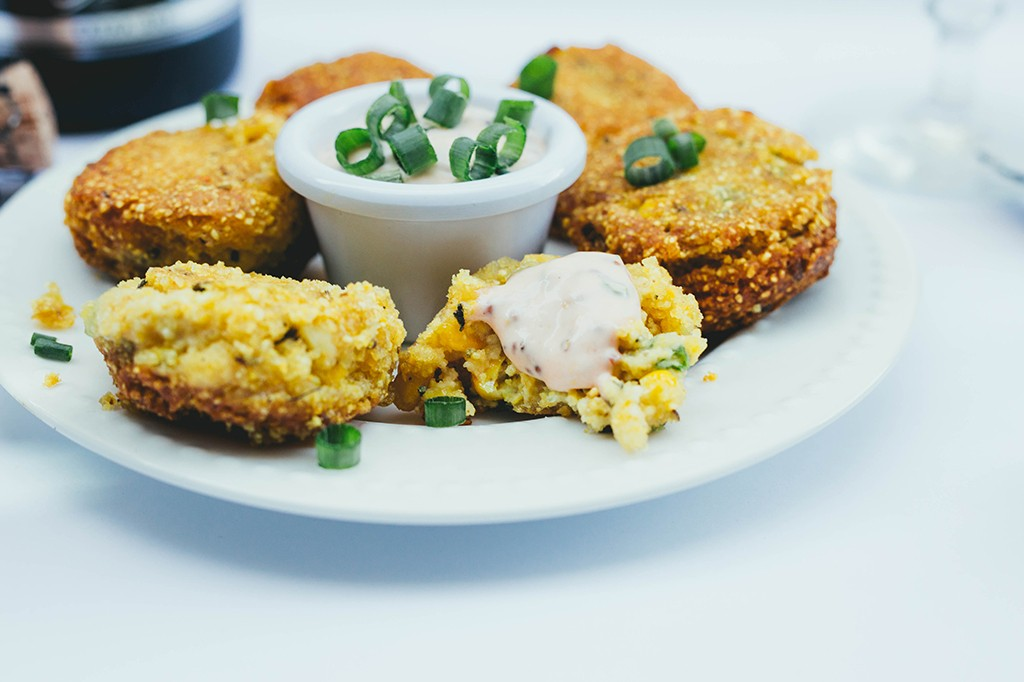 Vegan Hush Puppies, Gluten Free Hush Puppies, NYE Appetizer, Food that pairs well with champagne