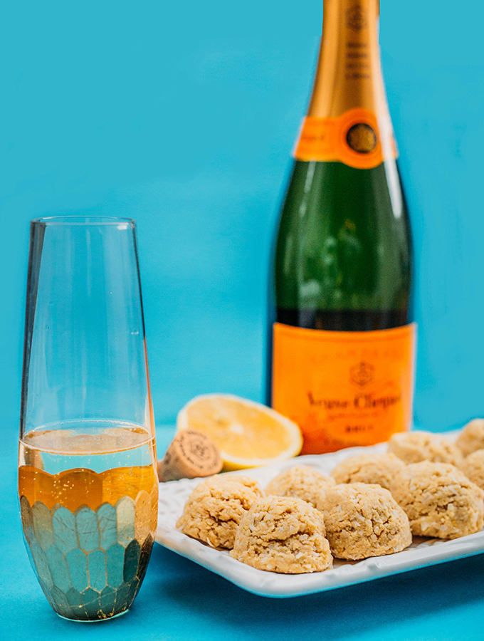 Lemon Drop Cookies, Dessert that pairs with champagne, Gluten-Free Cookies, Vegan Cookies, Veuve Clicquot, NYE Party Ideas