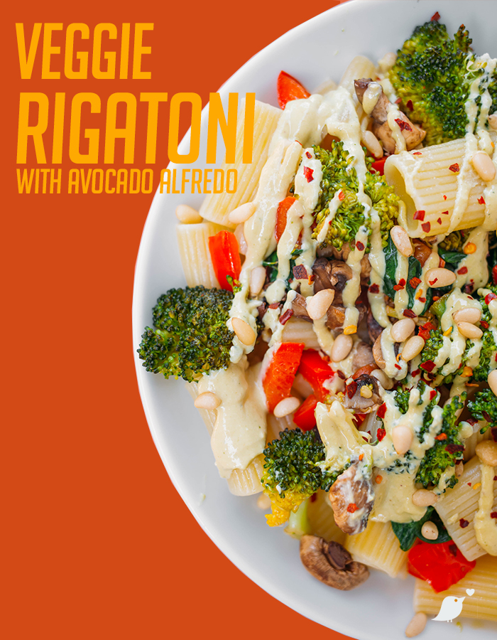 Veggie Alfredo - Simple ingredients, colorful plate, delicious meal.