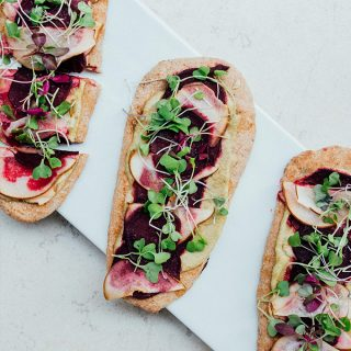 Roasted Beet & Pear Naan Bread Pizza